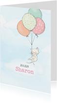 Geboortekaartjes - Geboortekaart meisje, kitten en ballonnen