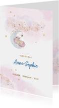 Geboortekaartjes - Geboortekaart meisje,  met eenhoorn, wolken en sterren