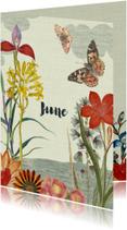 Geboortekaartjes - Geboortekaart met vintage bloemen en vlinders
