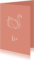 Geboortekaartjes - Geboortekaart met zwaan