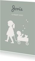 Geboortekaartjes - Geboortekaart Silhouet zus groen