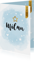 Geboortekaartjes - Geboortekaart waterverf kies je eigen kleur ster staand