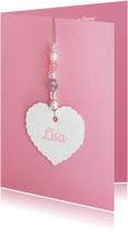 Geboortekaartjes - Geboortekaartje hartje label kralen roze