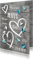 Geboortekaartjes - Geboortekaartje hip jongen hart