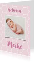Geboortekaartjes - Geboortekaartje honingraat achtergrondkleur aan te passen