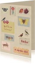 Geboortekaartjes - Geboortekaartje lief met kleine vintage figuurtjes