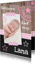 Geboortekaartjes - Geboortekaartje meisje foto hout sterren