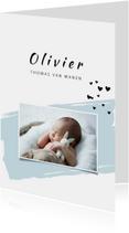 Geboortekaartjes - Geboortekaartje met groene  verfveeg en een foto