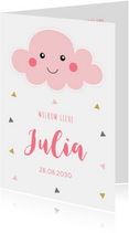 Geboortekaartjes - Geboortekaartje roze wolkje driehoekjes