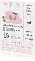 Geboortekaartjes - Geboortekaartje typografie wolk