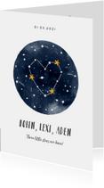 Geboortekaartje universum met sterren voor een meerling