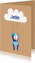 Geboortekaartjes - geboortekaartje wolk Jelle