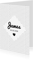 Geboortekaartjes - Geboortekaartje zwart wit met stippen