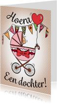 Felicitatiekaarten - Geboren kinderwagen - dochter