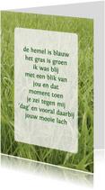 Gedichtenkaarten - Gedichtenkaart Gras liefde