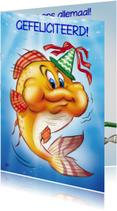 Geslaagd kaarten - gefeliciteerd 6 oranje vis met feesthoed
