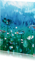 Bloemenkaarten - Geschilderde wilde bloemen blauwgroen