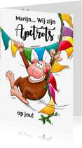Geslaagd kaarten - Geslaagd apetrots aap - HE