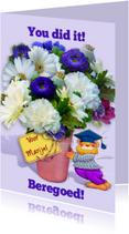 Geslaagd kaarten - Geslaagd beertje met bos bloemen