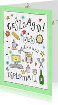 Geslaagd kaarten - Geslaagdkaart met kleine illustraties