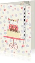 Geslaagd kaarten - Geslaagdkaart taart en vlaggetjes