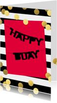 Verjaardagskaarten - Gouden confetti feest