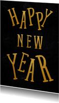 Nieuwjaarskaarten - Gouden happy new year kaart - SU