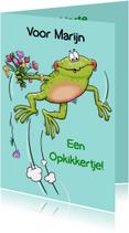 Beterschapskaarten - Grappige beterschapskaart kikker met bloemen