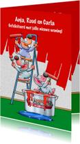 Felicitatiekaarten - Grappige felicitatie muizen die een muur rood schilderen