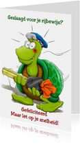 Geslaagd kaarten - Grappige geslaagd kaart schildpad met sleutel
