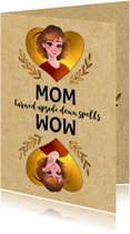 Moederdag kaarten - Grappige moederdagkaart - MOM Turned Upside Down Spells WOW