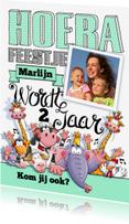 Kinderfeestjes - Grappige uitnodiging kinderfeest met dieren en eigen foto