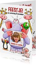 Kinderfeestjes - Grappige uitnodiging voor kinderfeest met leuke dieren