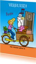 Verhuiskaarten - Grappige verhuiskaart met bakfiets en vrouw