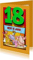 Verjaardagskaarten - Grappige verjaardagkaart met leeftijd 18 jaar