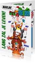 Verjaardagskaarten - Grappige verjaardagskaart beesten boven op elkaar