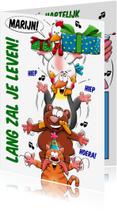 Verjaardagskaarten - Grappige verjaardagskaart beesten op elkaar