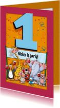 Verjaardagskaarten - Grappige verjaardagskaart Cijfer 1
