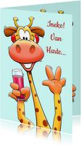 Verjaardagskaarten - Grappige verjaardagskaart giraf met glas en bos rozen