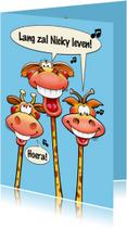 Verjaardagskaarten - Grappige verjaardagskaart giraffen met lange nekken