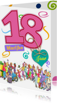 Verjaardagskaarten - Grappige verjaardagskaart meisje van 18 jaar
