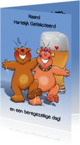 Verjaardagskaarten - Grappige verjaardagskaart met beren met glas bier