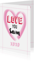 Liefde kaarten - Groot hart met love you en naam aanpasbaar