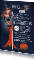Halloween kaarten - Halloween feest Heks Schoolbord