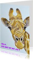 Dierenkaarten - Handgetekende Giraffe kaart