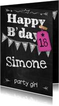 Verjaardagskaarten - Happy B'day schoolbord vrouw ByF