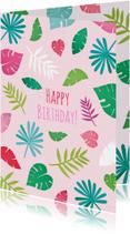 Verjaardagskaarten - Happy birthday bladeren roze
