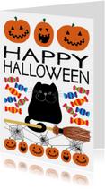 Halloween kaarten - Happy halloween kaart zwarte kat