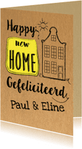 Felicitatiekaarten - Happy new home op krafpapier-ByF