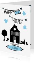 Felicitatiekaarten - Happy new home, zwart wit met huisje, boompje, beestje